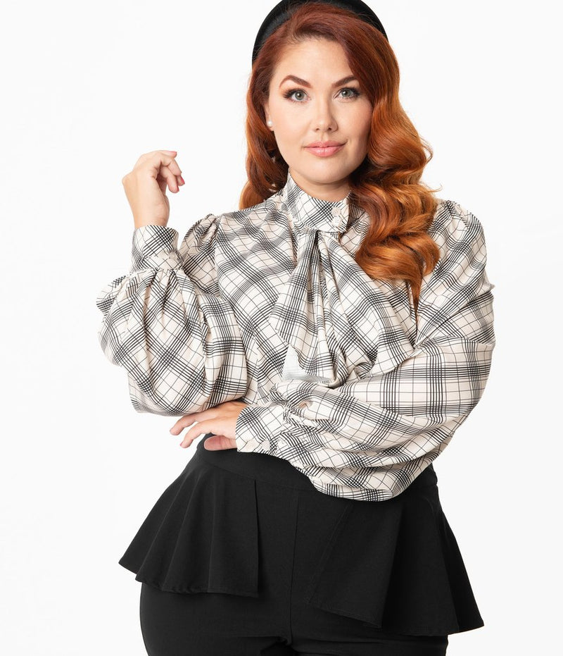 Cream & Black Windowpane Gabor Blouse
