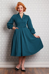Mabel Teal Double-Breasted Dress by Miss Candyfloss