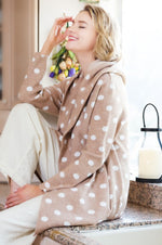Camel & Ivory Polka Dot Hooded Coatigan