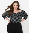 Black and White Plaid Bisou Top