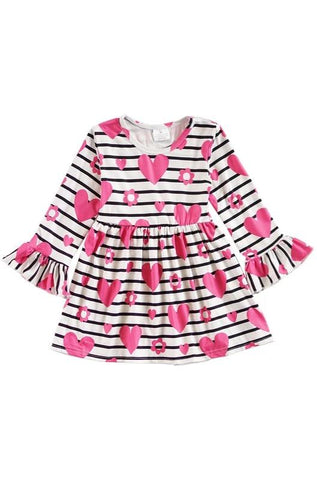 Black & White Striped Girls Dress with Pink Hearts