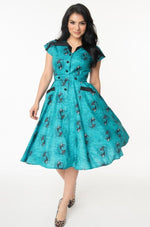 Aqua Vampire Mermaid Print Hedda Dress by Unique Vintage