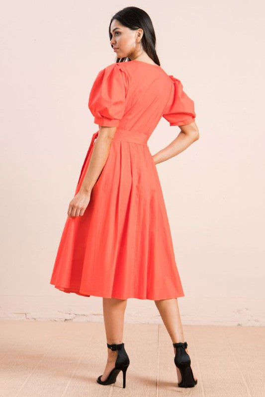 Puff Sleeve Wrap Midi Dress in Coral
