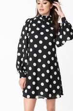 Polka Dot Shift Dress with Balloon Sleeves by Smak Parlour