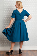 Billiana-Kat Teal Swing Dress by Miss Candyfloss