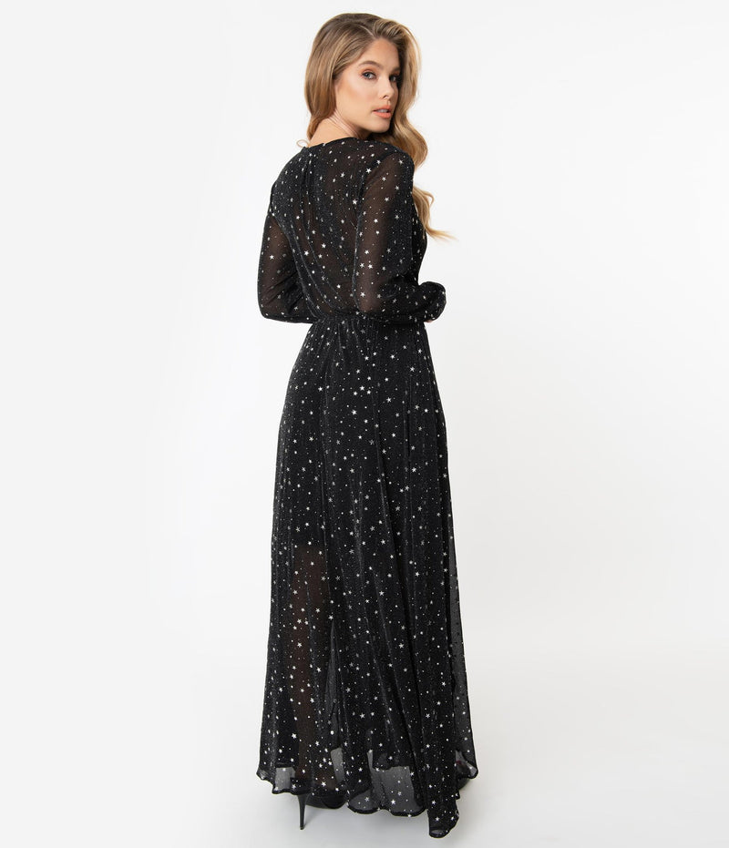 Farrah Dress in Black and Silver Stars