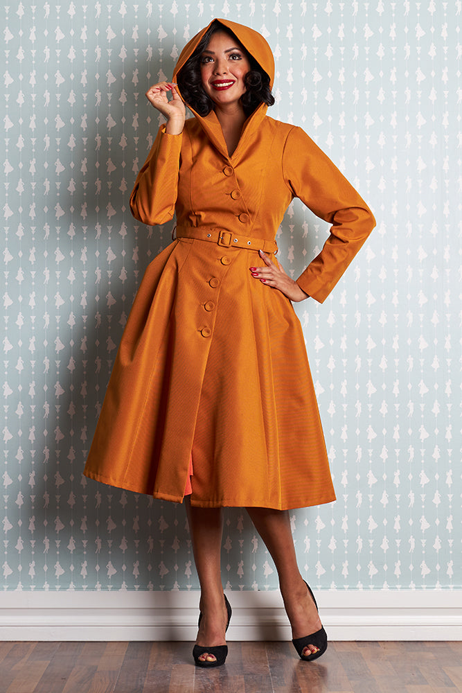 Lorin- Marigold Water Resistant Trench Coat by Miss Candyfloss