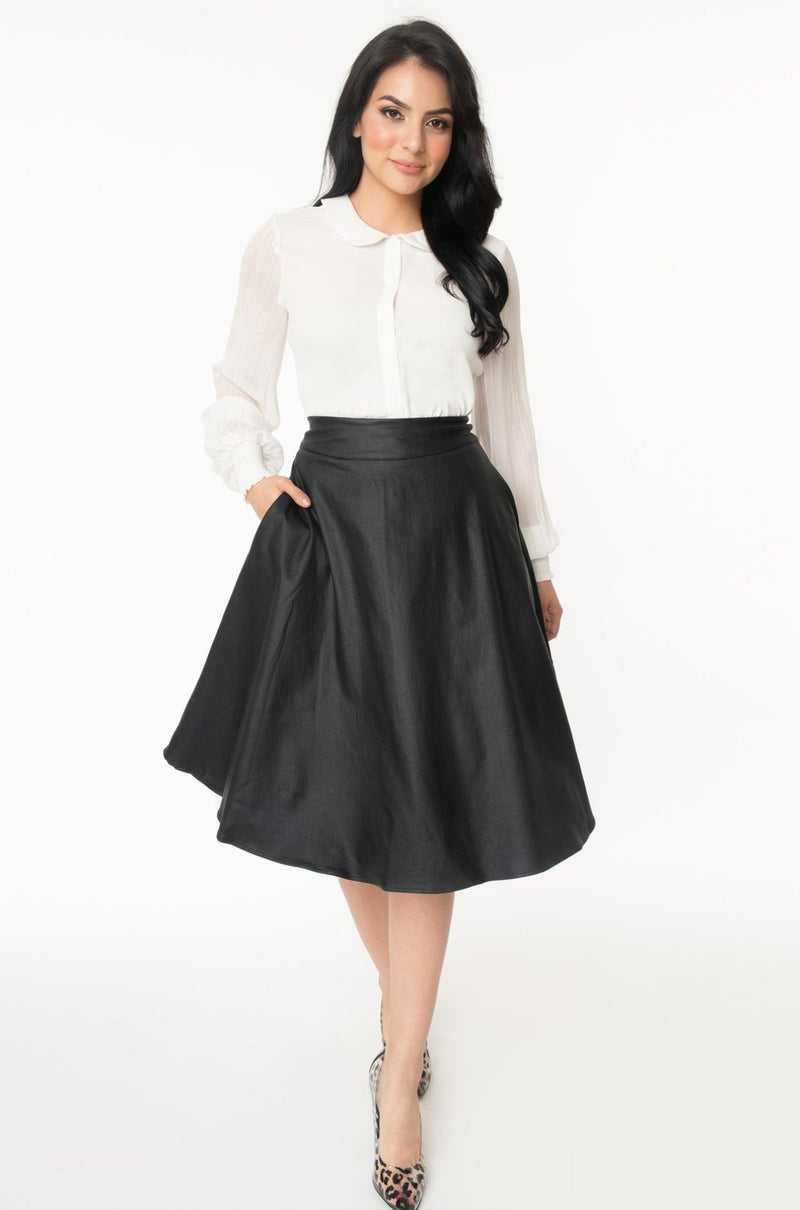 Black Vegan Leather Vivien Swing Skirt