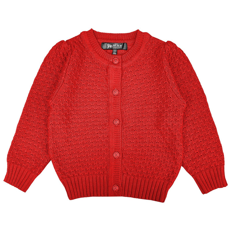 Kids Red Crocheted Cardi