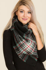 Black and Olive Plaid Blanket Scarf