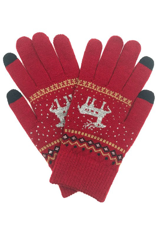 Reindeer Holiday Gloves in Multiple Colors