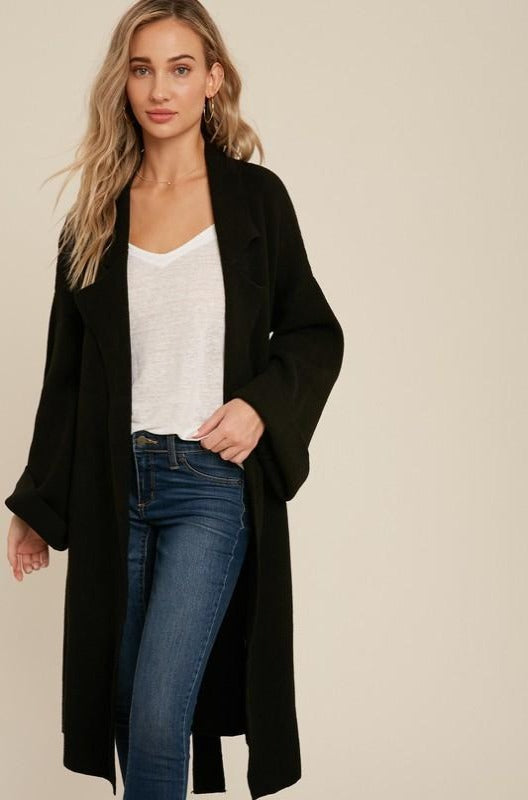 Belted Knit Sweater Coat in Black