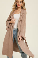 Belted Knit Sweater Coat in Latte
