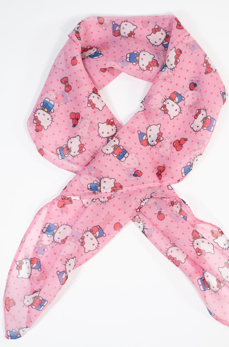 Pink Dotted Hello Kitty Scarf by Unique Vintage