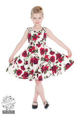 Red & White Floral Girls Dress by Hearts & Roses
