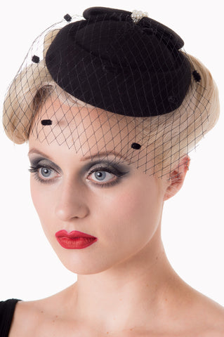 Black Judy Fascinator with Pearls
