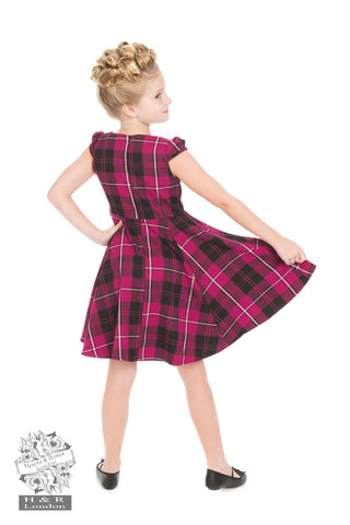 Purple Tartan Girls Dress by Hearts & Roses