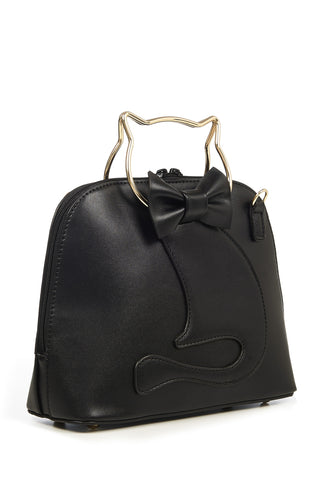 Dixie Bag in Black with Cat Handle by Banned
