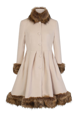 Elsie Swing Coat in Cream by Hearts & Roses