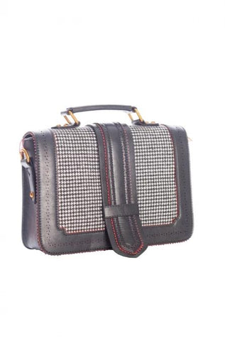 Houndstooth Saddle Bag in Black