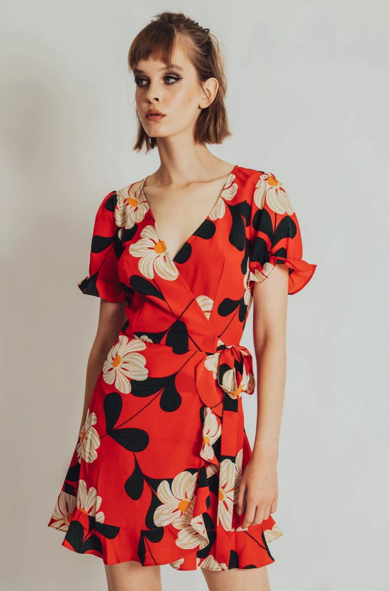 Reem Red Ruffle Floral Wrap Dress by Voodoo Vixen