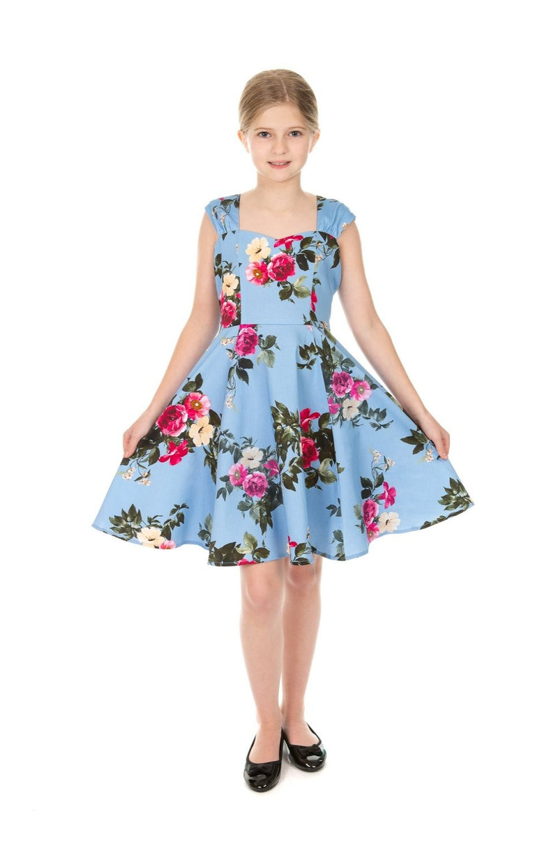 Kids Jolene Blue Floral Dress by Hearts & Roses