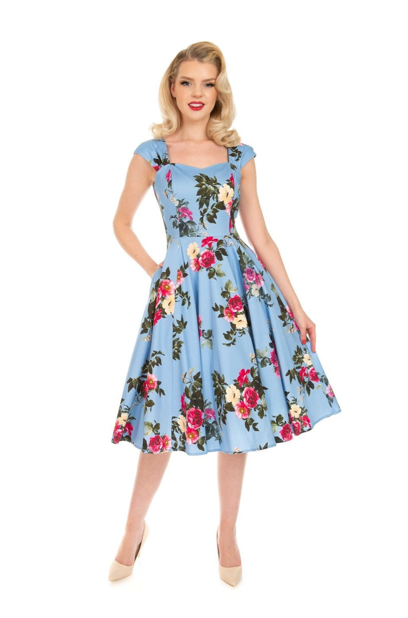 Jolene Blue Floral Dress by Hearts & Roses London