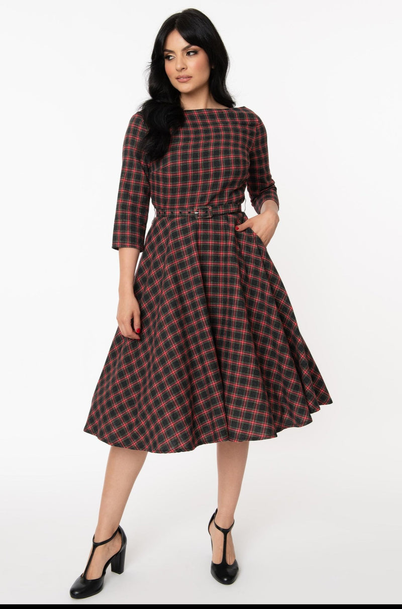 Devon Red and Gray Plaid Swing Dress
