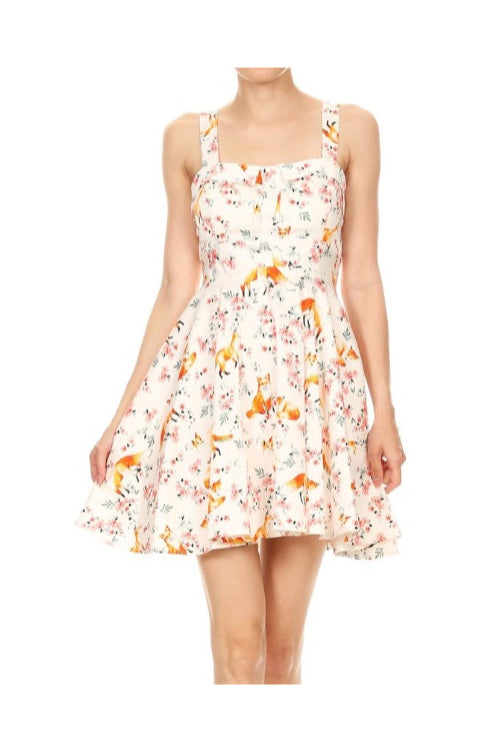 Fox and Floral Print Tie-Back Dress by Ixia