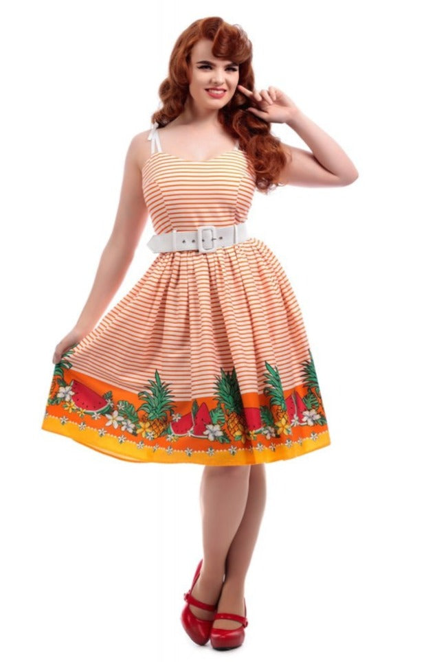 Jade Tropical Fruit Swing Dress by Collectif