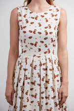 Fit to Flare Dress in Ivory Fox Print