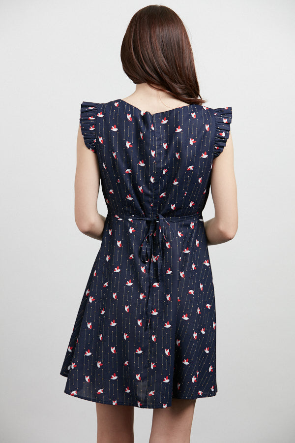Flutter Sleeve Dress in Navy Owl Print