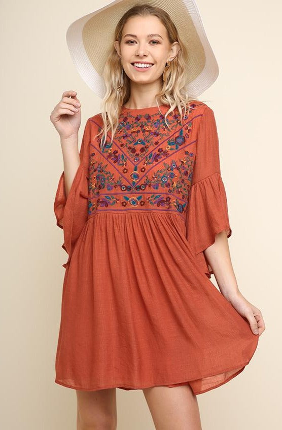 Clay Embroidered Mini Dress Tunic