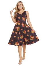 Brown V-Neck Dress in Mustard Floral Bouquets by Eva Rose