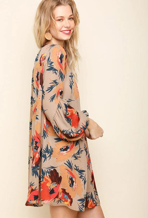 Keyhole Tunic Dress with Balloon Sleeves in Taupe Floral