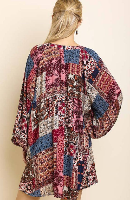 Billowy Patchwork Dress in Berry