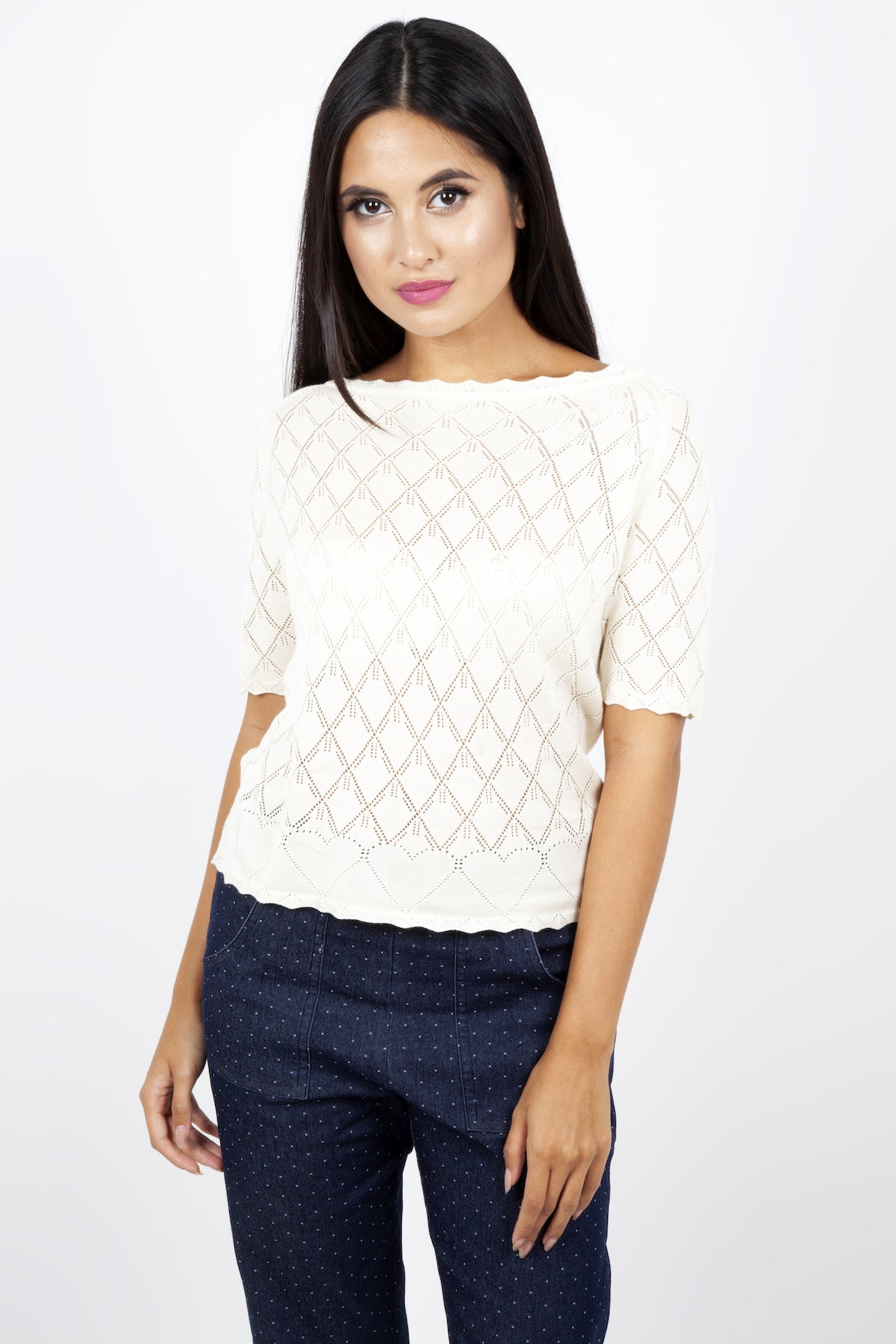 Alexandra Diamond Heart Cream Sweater by Voodoo Vixen