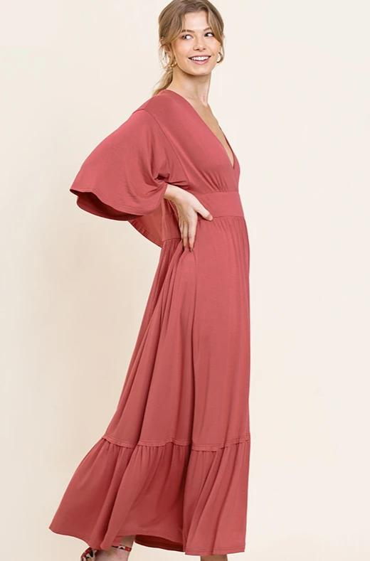 Rust Bell Sleeve Jersey V-Neck Maxi Dress by Umgee