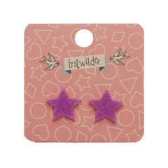 Star Stud Earrings in Purple Glitter by Erstwilder