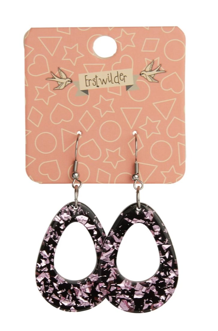 Essentials Teardrop Pink Chunky Glitter Earrings by Erstwilder