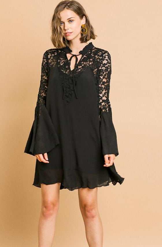Black Lace and Bell Sleeve Tunic Dress