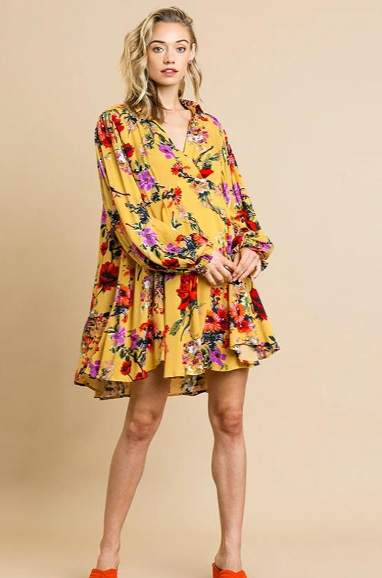 Balloon Sleeve Tunic Dress in Yellow & Red Floral