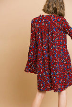 Leopard Print Bell Sleeve Tunic Dress in Red