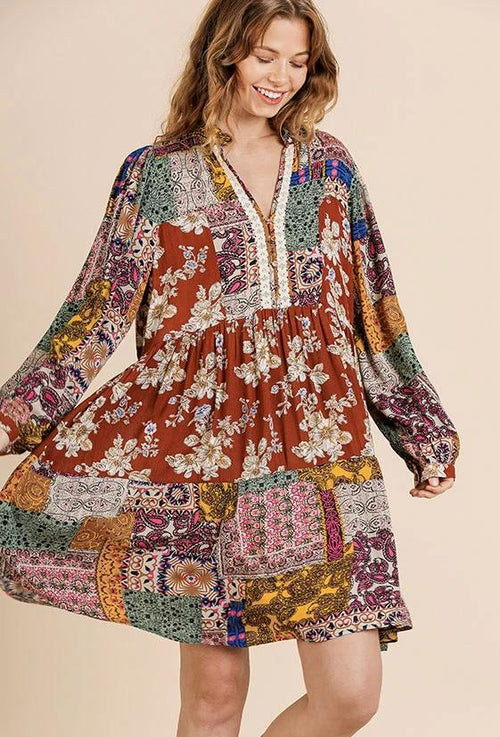 Patchwork Print Long Sleeve Crochet Neck Dress by Umgee