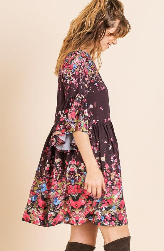Burgundy Floral Bell Sleeve Babydoll Tunic Dress