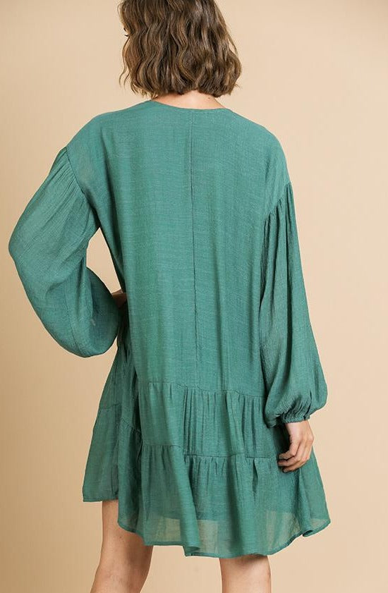 Seafoam Puff Sleeve Ruffle Dress