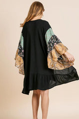 Black Kimono Cardigan with Sheer Paisley & Floral Bell Sleeves