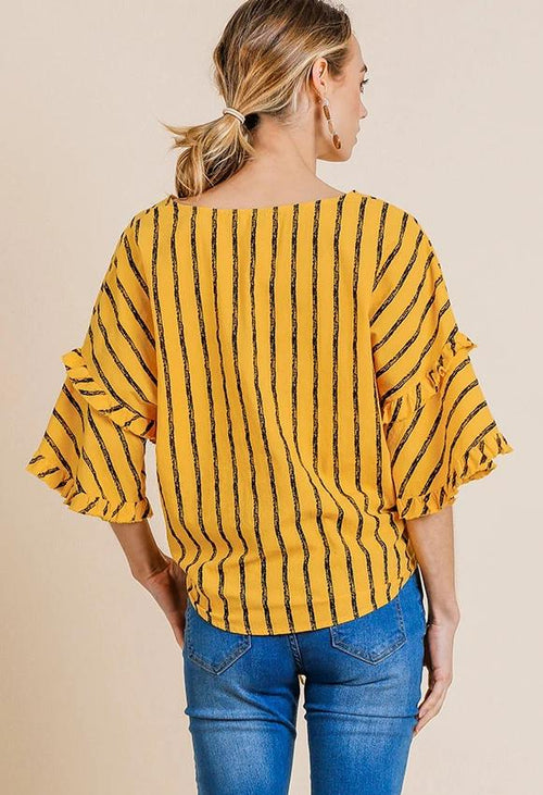 Mango Striped Tie Top with Bell Sleeves