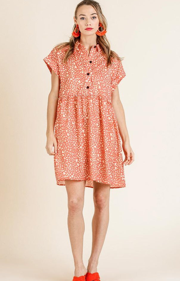 Heart Print Button Down Tunic Dress in Sunkist