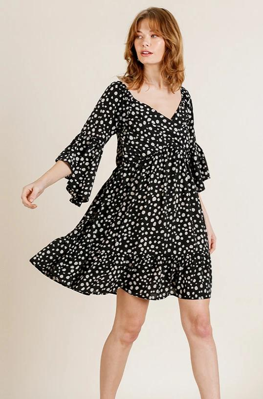 Bell Sleeve Dress in Black & White Dalmation Print